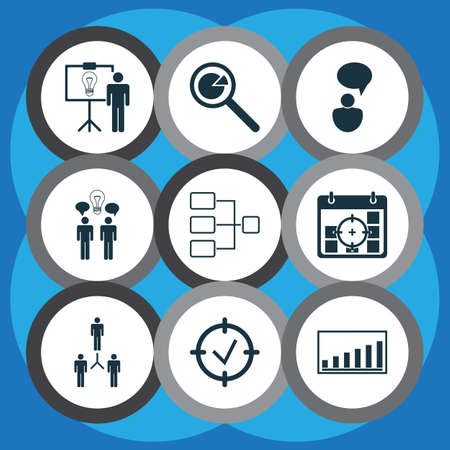 advancement: Set Of 9 Management Icons. Includes Opinion Analysis, Approved Target, Company Statistics And Other Symbols. Beautiful Design Elements. Illustration