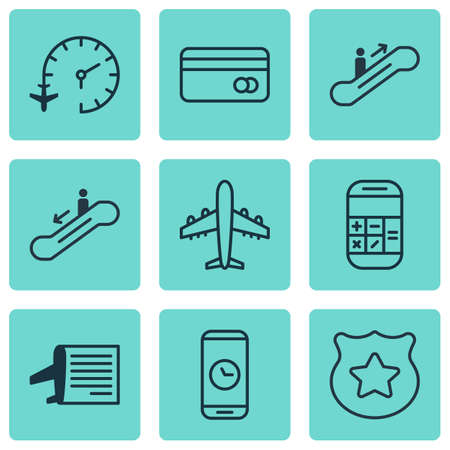 roaming: Set Of 9 Traveling Icons. Includes Timetable, Escalator Down, Moving Staircase And Other Symbols. Beautiful Design Elements.