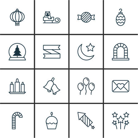 skid: Set Of 16 Celebration Icons. Includes Crescent, Traditional Lamp, Air Ball And Other Symbols. Beautiful Design Elements. Illustration