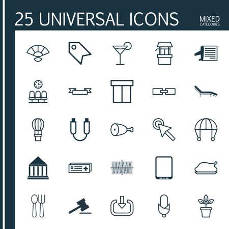 25 ユニバーサル編集可能なアイコンのセットです。Web、モバイル、アプリの設計に使用できます。要素が含まれていますこのようなスカイ ダイビン
