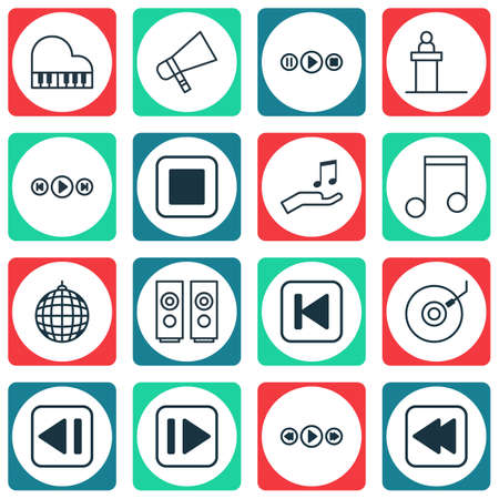 octave: Set Of 16 Audio Icons. Includes Song UI, Octave, Rostrum And Other Symbols. Beautiful Design Elements.