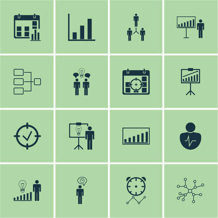 demography: Set Of 16 Administration Icons. Includes Decision Making, Group Organization, Presentation Date And Other Symbols. Beautiful Design Elements.