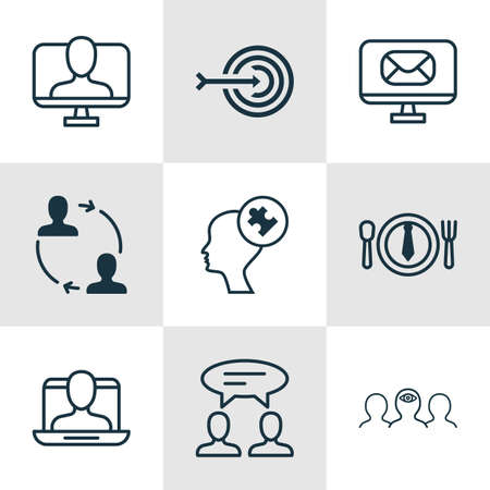 solved: Set Of 9 Business Management Icons. Includes Dialogue, Cooperation, Online Identity And Other Symbols. Beautiful Design Elements.