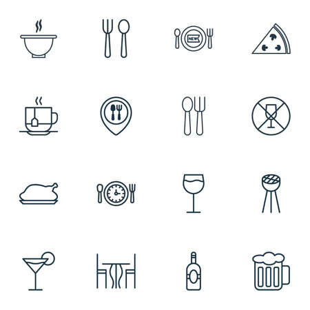 pareja comiendo: Set Of 16 Eating Icons. Includes Wineglass, Cocktail, Eating House And Other Symbols. Beautiful Design Elements. Vectores