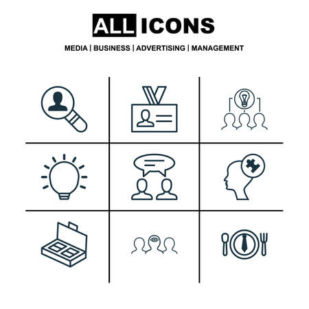 collaborative: Set Of 9 Business Management Icons. Includes Dialogue, Human Mind, Dinner And Other Symbols. Beautiful Design Elements. Illustration