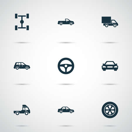 Auto Icons Set. Collection Of Van, Lorry, Car And Other Elements. Also Includes Symbols Such As Crossover, Truck, Auto.