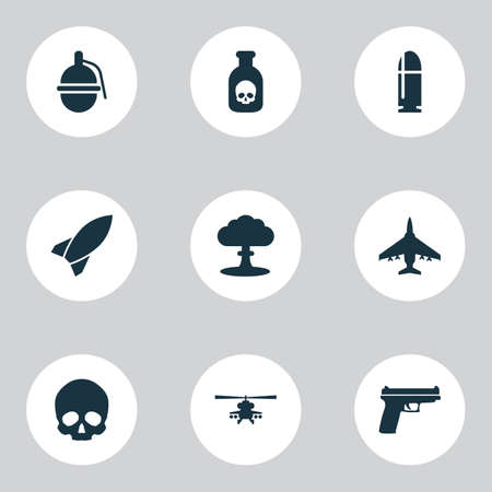 bombshell: Combat Icons Set. Collection Of Atom, Weapons, Cranium And Other Elements. Also Includes Symbols Such As Bombshell, Helicopter, Bomber. Illustration