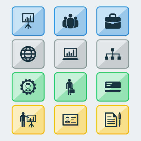 schema: Job Icons Set. Collection Of Group, Suitcase, Diagram And Other Elements. Also Includes Symbols Such As Gear, Page, Chart. Illustration