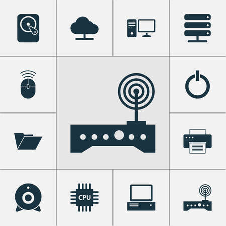 open notebook: Laptop Icons Set. Collection Of Router, Dossier, Monitor And Other Elements. Also Includes Symbols Such As Machine, Control, Tree. Illustration