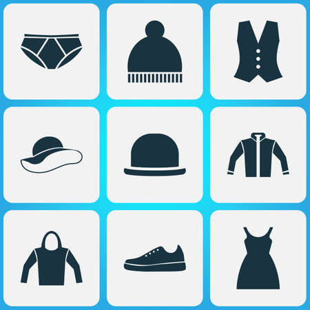 waistcoat: Clothes Icons Set. Collection Of Panama, Elegant Headgear, Beanie And Other Elements. Also Includes Symbols Such As Clothes, Cardigan, Hoodie.