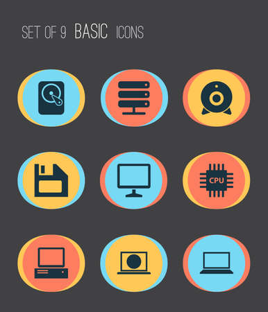 tv unit: Laptop Icons Set. Collection Of Hdd, Laptop, Web And Other Elements. Also Includes Symbols Such As Server, Camera, Monitor.