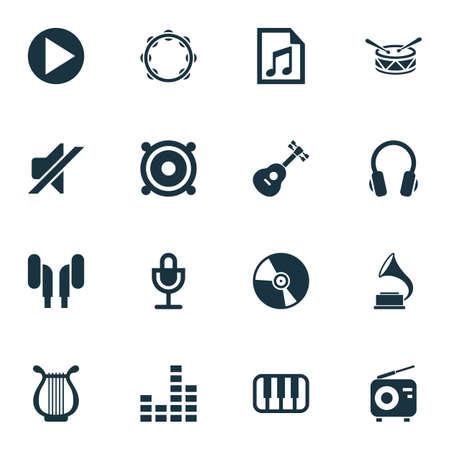 Multimedia Icons Set. Collection Of Start, Timbrel, Phonograph And Other Elements. Also Includes Symbols Such As Tambourine, Volume, Mixer.