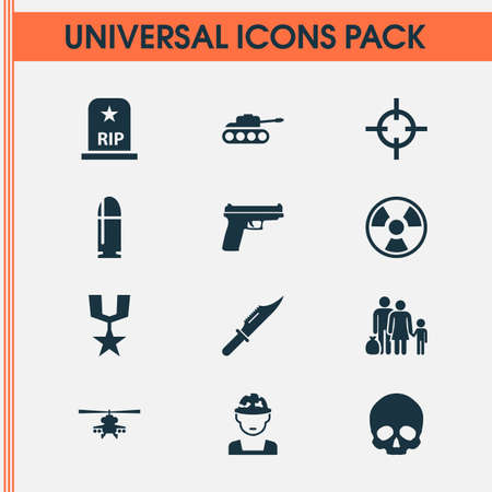refugee: Combat Icons Set. Collection Of Chopper, Military, Cutter And Other Elements. Also Includes Symbols Such As Cutter, Grave, Bullet.