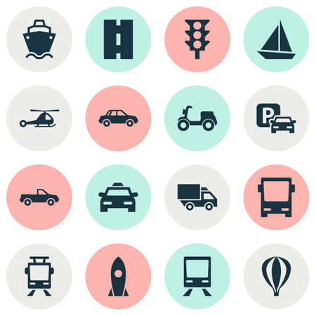 conveyor rail: Shipment Icons Set. Collection Of Cabriolet, Automobile, Road Sign And Other Elements. Also Includes Symbols Such As Light, Cab, Bus. Illustration