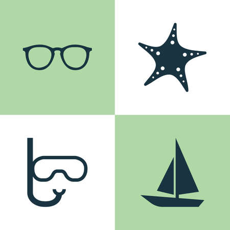 deep sea diver: Hot Icons Set. Collection Of Ship, Tube, Goggles And Other Elements. Also Includes Symbols Such As Swimming, Star, Sunshades.
