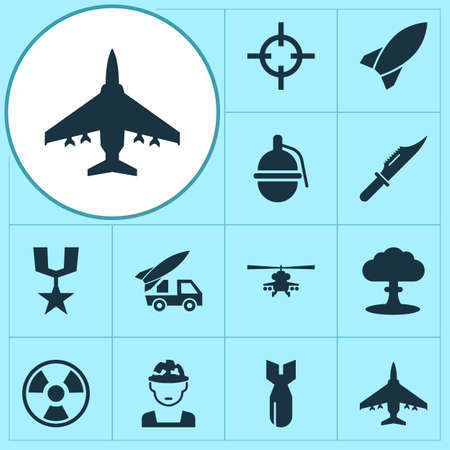 bombshell: Combat Icons Set. Collection Of Chopper, Rocket, Bombshell And Other Elements. Also Includes Symbols Such As Explosion, Grenade, Hazard.