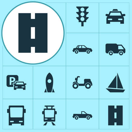 tramcar: Transportation Icons Set. Collection Of Road Sign, Omnibus, Spaceship And Other Elements. Also Includes Symbols Such As Traffic, Sign, Spaceship.