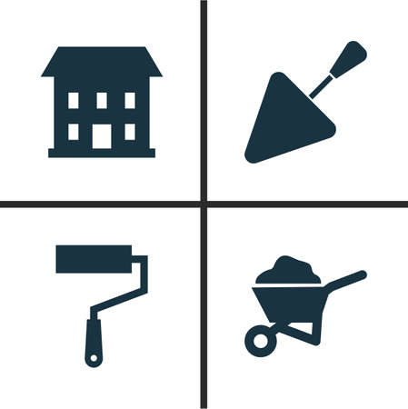 Industry Icons Set. Collection Of Home, Paint Roller, Spatula And Other Elements. Also Includes Symbols Such As Cart, Barrow, Paint. Illustration