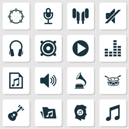 Audio Icons Set. Collection Of Equalizer, File, Megaphone And Other Elements. Also Includes Symbols Such As Volume, Drum, Earphone.
