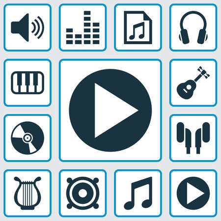 Audio Icons Set. Collection Of Music, Earmuff, Earphone And Other Elements. Also Includes Symbols Such As Piano, Lyre, Note.