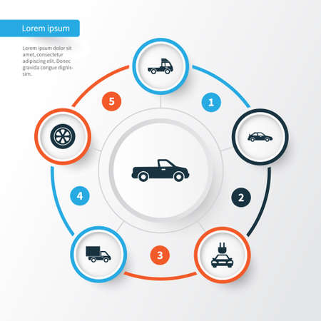 Car Icons Set. Collection Of Plug, Van, Lorry And Other Elements. Also Includes Symbols Such As Carriage, Automobile, Van. Illustration