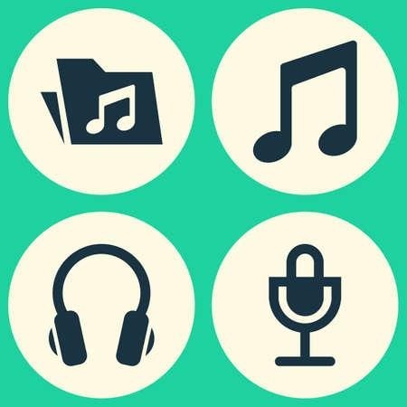 オーディオ アイコンを設定します。マイク、ミュージック、イヤホン、その他の要素のコレクションです。音楽、マイク、マイクなどの記号も含ま