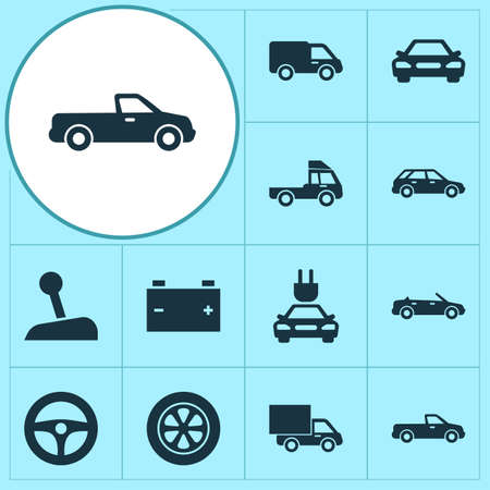 bogie: Automobile Icons Set. Collection Of Van, Truck, Auto And Other Elements. Also Includes Symbols Such As Van, Plug, Lever. Illustration