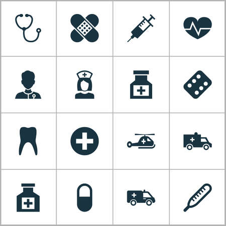healer: Medicine Icons Set. Collection Of Plus, Painkiller, Nanny And Other Elements. Also Includes Symbols Such As Instrument, Sign, First-Aid.