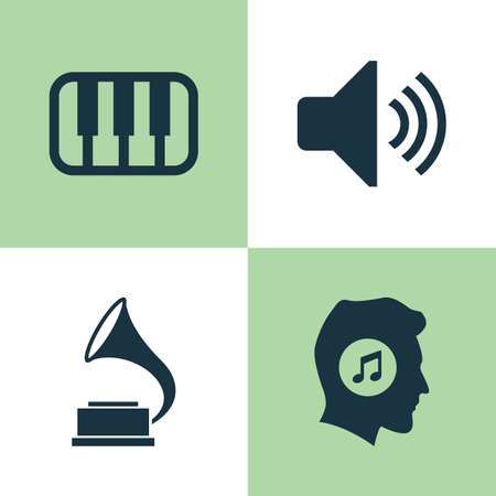 louder: Music Icons Set. Collection Of Octave, Meloman, Sound And Other Elements. Also Includes Symbols Such As Phonograph, Octave, Sound.