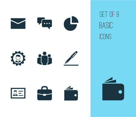 Trade Icons Set. Collection Of Envelope, Leader, Billfold And Other Elements. Also Includes Symbols Such As Envelope, Billfold, Briefcase.