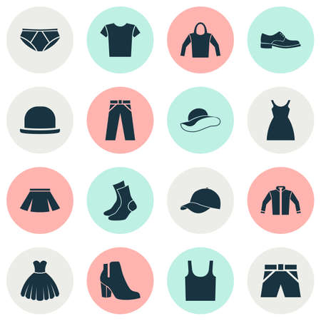 hooded: Clothes Icons Set. Collection Of Elegance, Dress, Casual And Other Elements. Also Includes Symbols Such As Boots, Skirt, Briefs.