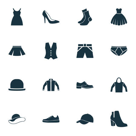 shoelace: Dress Icons Set. Collection Of Cardigan, Female Winter Shoes, Panama And Other Elements. Also Includes Symbols Such As Cloth, Clothes, Skirt.