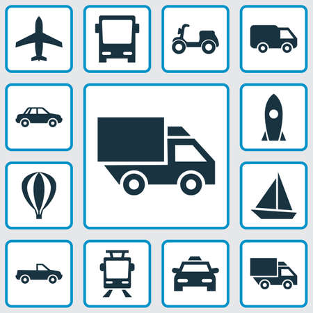 Transportation Icons Set. Collection Of Spaceship, Truck, Yacht And Other Elements. Also Includes Symbols Such As Omnibus, Moped, Scooter.