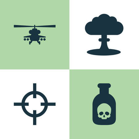 mortal: Battle Icons Set. Collection Of Atom, Chopper, Target And Other Elements. Also Includes Symbols Such As Poison, Danger, Nuclear.