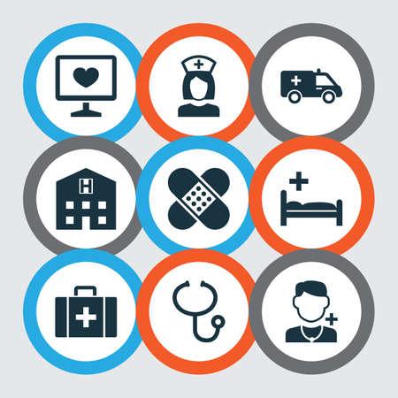 薬のアイコンを設定します。包帯、医師、後退要素のコレクション。また健康、リトリート、総合病院などの記号が含まれています。