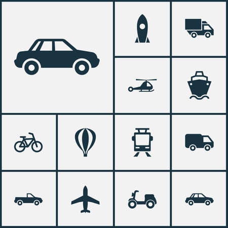 auto service: Shipment Icons Set. Collection Of Spaceship, Truck, Bicycle And Other Elements. Also Includes Symbols Such As Bicycle, Cargo, Truck. Illustration