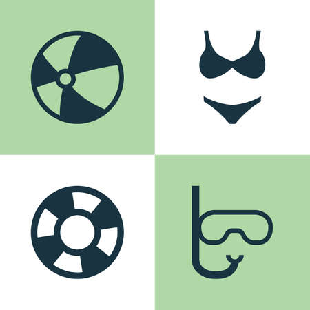 Season Icons Set. Collection Of Dinghy, Tube, Bikini And Other Elements. Also Includes Symbols Such As Lifebuoy, Mask, Dinghy.