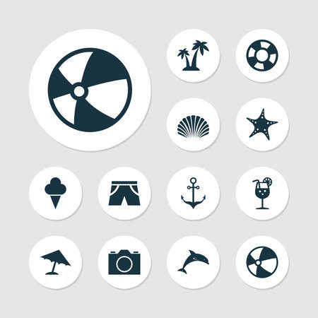 Season Icons Set. Collection Of Dinghy, Star, Parasol And Other Elements. Also Includes Symbols Such As Sweets, Underwear, Cocos. Illustration