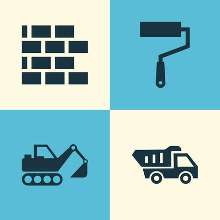 Industry Icons Set. Collection Of Truck, Paint Roller, Wall And Other Elements. Also Includes Symbols Such As Roller, Paint, Wall.