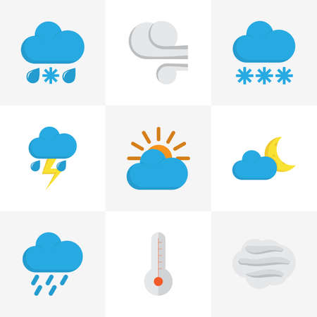hail: Climate Flat Icons Set. Collection Of Shower, Windy, Crescent And Other Elements. Also Includes Symbols Such As Snow, Shower, Hail.