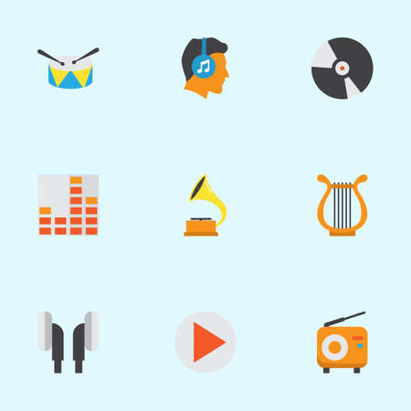 Multimedia Flat Icons Set. Collection Of Shellac, Sonata, Controlling And Other Elements. Also Includes Symbols Such As Harp, Earmuff, Philharmonic.
