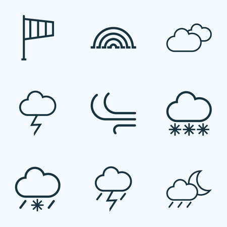 Climate Outlines Set. Collection Of Snowy Raining, Overcast, Breeze And Other Elements. Also Includes Symbols Such As Snowfall, Rainfall, Variegation.