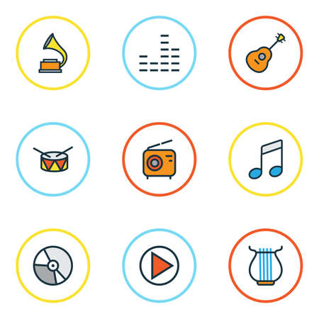 Audio Colored Outlines Set. Collection Of Circle, Mixer, Strings And Other Elements. Also Includes Symbols Such As Music, Equalizer, Instrument. Illustration