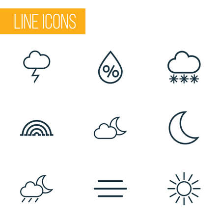 moonshine: Weather Outlines Set. Collection Of Night, Rainstorm, Rainbow And Other Elements. Also Includes Symbols Such As Stormy, Humidity, Moonshine. Illustration