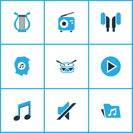 fm: Multimedia Colored Icons Set. Collection Of Folder, Mute, Harp And Other Elements. Also Includes Symbols Such As Volume, Fm, Start.