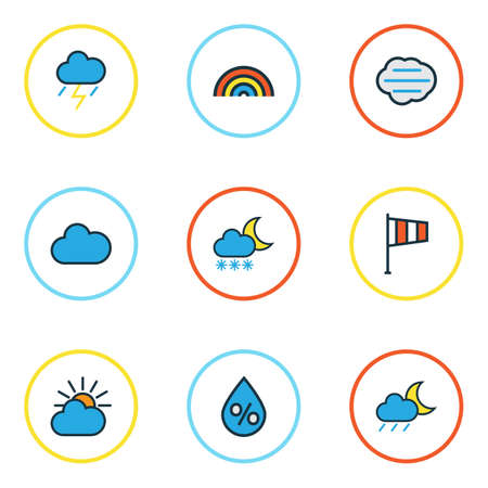 Climate Colored Outlines Set. Collection Of Tempest, Thunderstroke, Cloudy Day And Other Elements. Also Includes Symbols Such As Freeze, Rainbow, Drop.