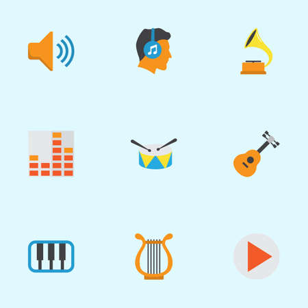 Multimedia Flat Icons Set. Collection Of Acoustic, Button, Sonata And Other Elements. Also Includes Symbols Such As Play, Frequency, Synthesizer. Illustration