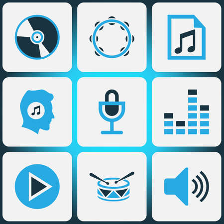Music Colored Icons Set. Collection Of Mixer, Music Lover, Tambourine And Other Elements. Also Includes Symbols Such As Sound, Meloman, Mixer.