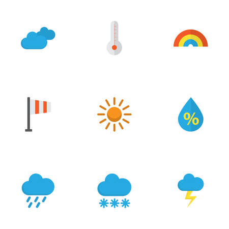 Weather Flat Icons Set. Collection Of Snow, Overcast, Drop And Other Elements. Also Includes Symbols Such As Cloud, Flash, Hail.