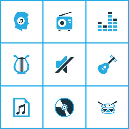 sonata: Music Colored Icons Set. Collection Of Playlist, Guitar, Drum And Other Elements. Also Includes Symbols Such As Note, Tuner, Fm.